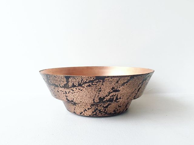 Spun copper bowl with a blackened patina experiment