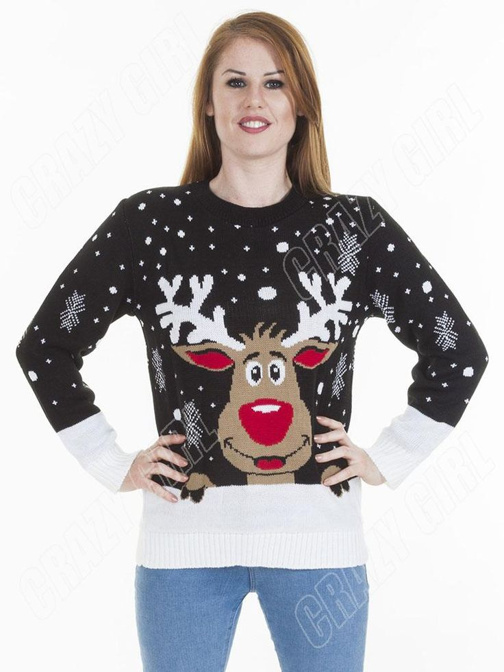 Smiling-Rudolph-Reindeer-Womens-Mens-Novelty-Christmas-Jumper-Plus-Size-8-10-S-M