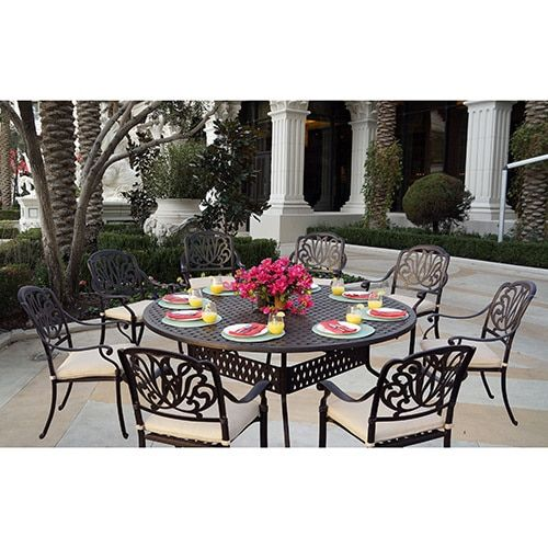 Sicily 9-Piece Dining Set with Seat Cushions,72 Inch Round Dining Table,Antique Bronze Finish