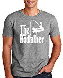 Adult The Rodfather Funny Fishing T Shirt Large Sports Gray