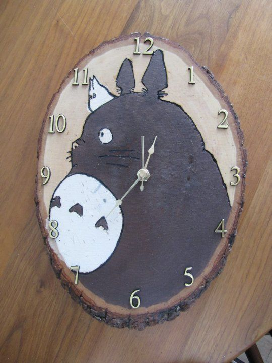 My Neighbor Totoro Clock.  Wood-burned and stained by hand.  Great for a totoro nursery or totoro kids room.