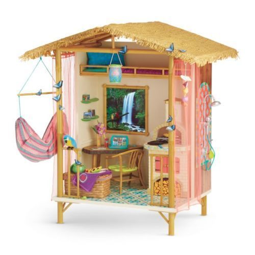 American-Girl-doll-LEA-RAINFOREST-HOUSE-Furniture-NEW-hut-hammock-accessories