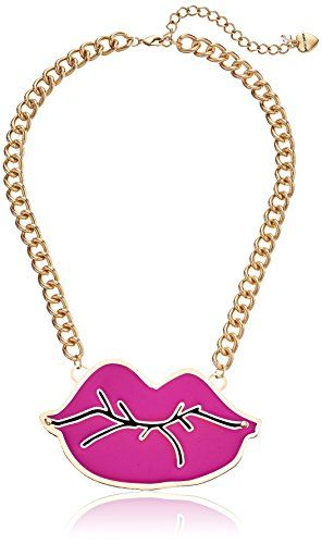 "Betsey Johnson ""Photoetch"" Layered Cut Out Lips Necklace"