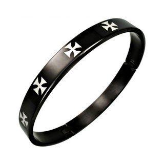 Bracelet homme acier noir à croix de malte