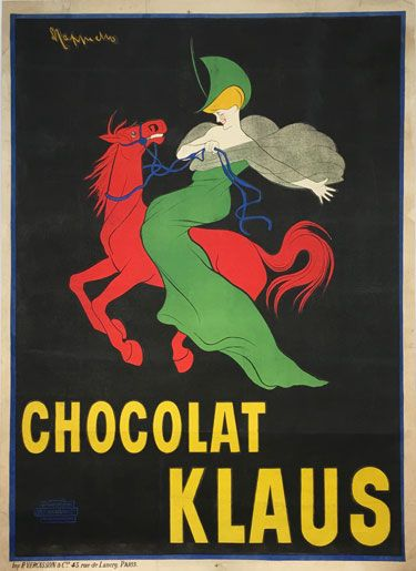 Chocolat Klaus L. Cappiello original vintage food poster from 1903 France.