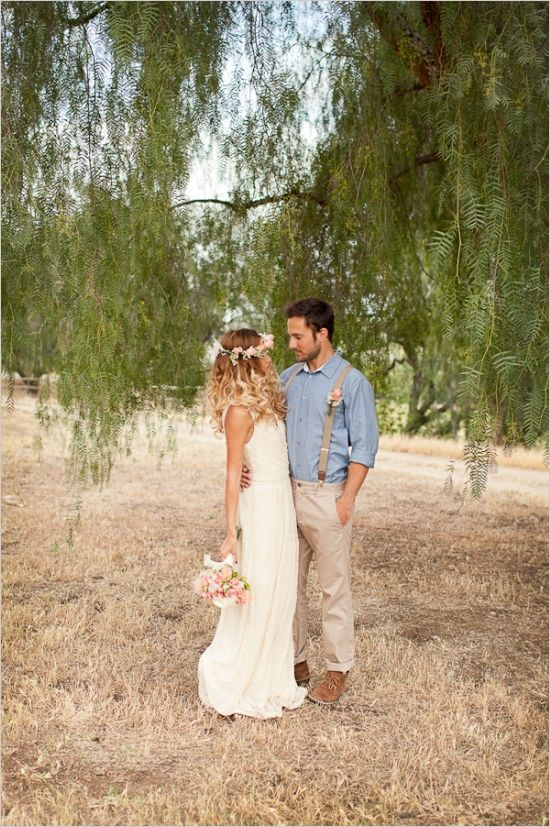 Our bride, Katy, found a simple knitted cream dress that matched perfectly with her groom Justin's neutral colored attire. His blue shirt really made his ...