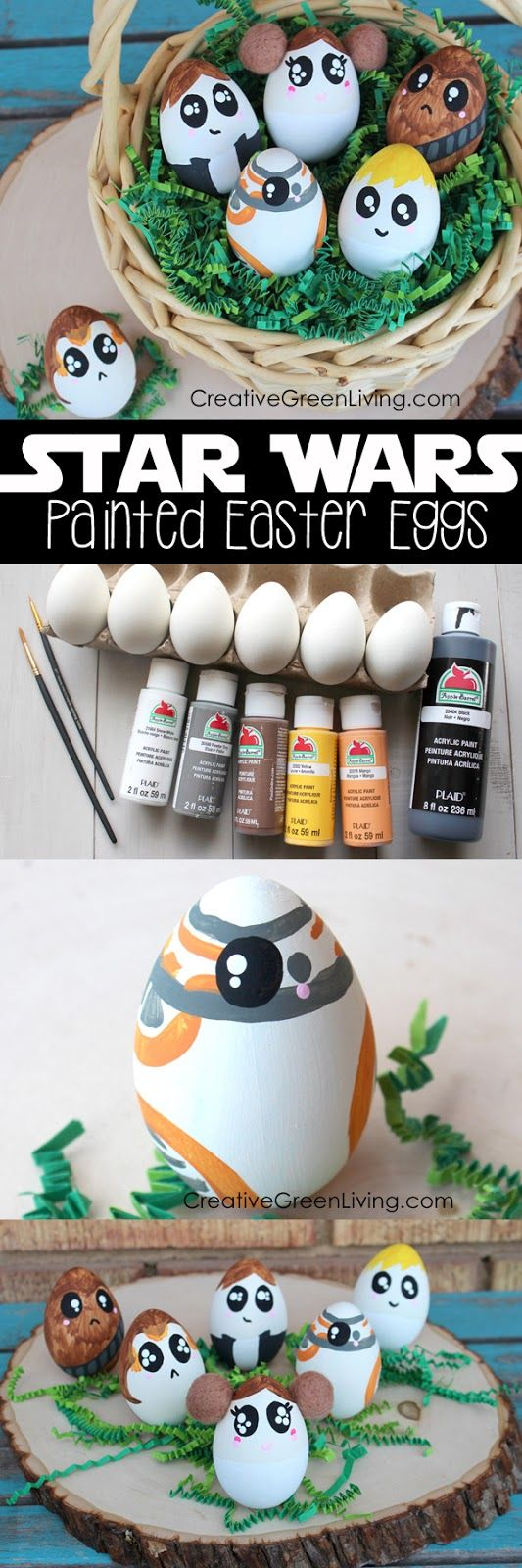 How to make DIY Star Wars Easter eggs - funny star wars crafts with characters from The Last jedi and the force awakens. I love all these awesome ideas!
