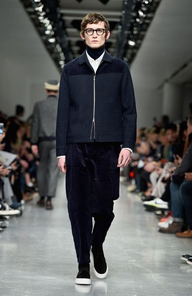 A model walks the runway at the Oliver Spencer show during London Fashion Week Men's January 2017 collections at BFC Show Space on January 7, 2017 in London, England.