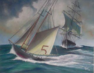 Navio em Alto Mar - Pinturas, Matizes e Desenhos de António Rato: Óleo sobre Tela