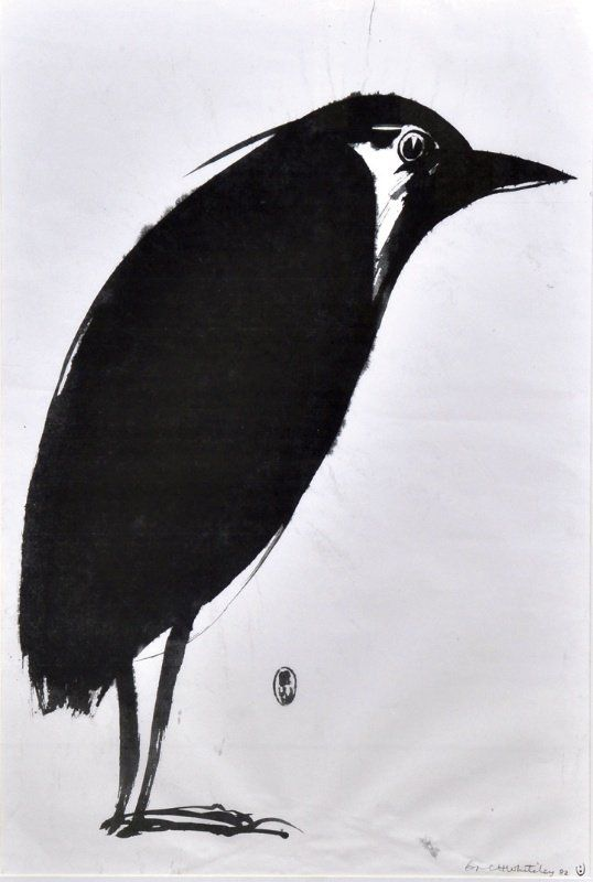 BRETT WHITELEY (1939-1992) AUSTRALIAN A standing bird. Print. 31 x 21ins.