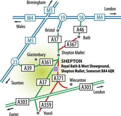 Shepton Mallet Directions Map