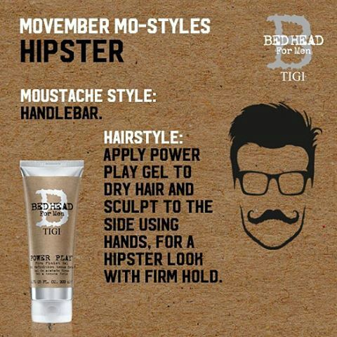 allbeauty.com - Movember looks for guys, presenting The Hipster: handlebar moustache with hair sculpted by TIGI Bed Head For Men Power Play Gel #Movember #allbeauty #TIGI