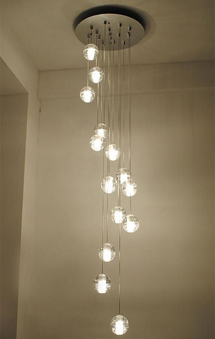 Modern Stairwell Led Chandelier Lighting Large Bubble Crystal Ball Pendant Lights Stairway Res De Cristal Lamps