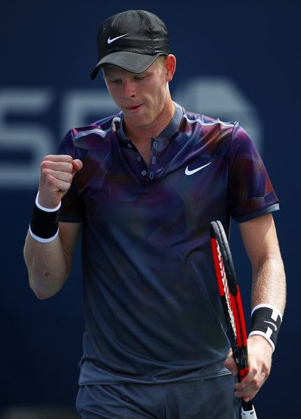 Kyle Edmund of Great Britain celebrates a point during his first round Men's Singles match against Robin Haase of the Netherlands on Day One of the 2017 US Open at the USTA Billie Jean King National Tennis Center on August 28, 2017 in the Flushing neighborhood of the Queens borough of New York City.