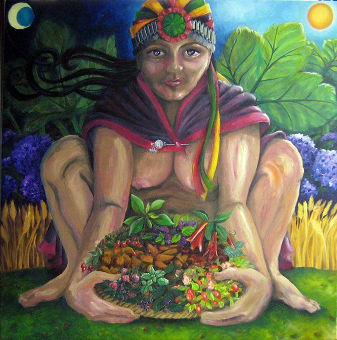 Pachamama. Mujer mapuche con frutos chilenos. Sus joyas, de plata, son típicas de su cultura. Óleo 100 x100 cms