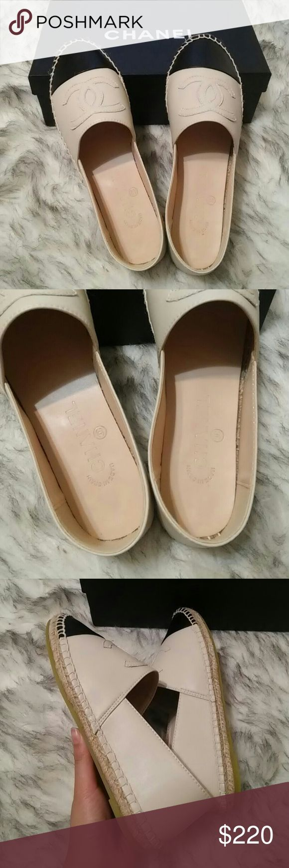 Chanel beige espadrilles leather shoes New in box! Not orig. Real leather. High quality as original. Size 39 but ran very small. It will fits size 6.5-7. CHANEL Shoes Espadrilles