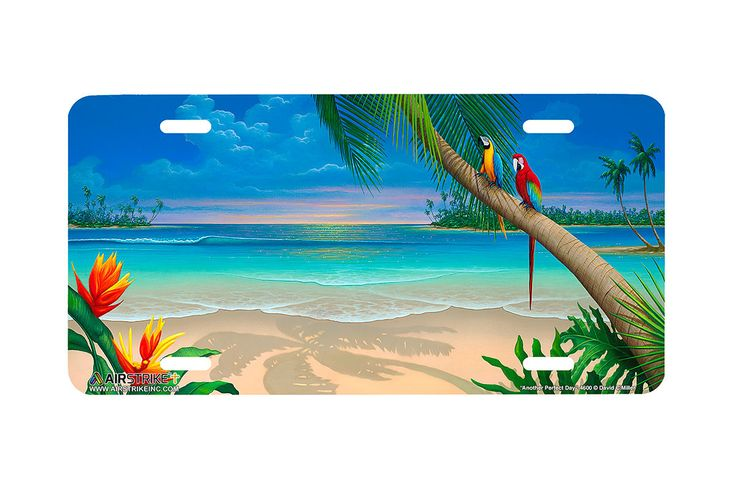 "Airstrike® Beach License Plate 4600-""Another Perfect Day""-Beach Scene License Plate"