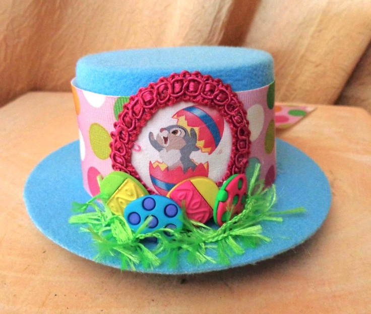 Thumper Bunny Easter Hat - Mini Top Hat In Blue With Eggs And Polkadots Perfect for Spring. via Etsy.