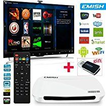 EMISH Android Box with XBMC, 1080P Quad Core Rockchip 3128, Unlocked Fully Loaded TV Box, Built-in WIFI, Streaming Media Player for Netflix, Hulu, Facebook, Laptop, Online Movies and ANY APPS, White