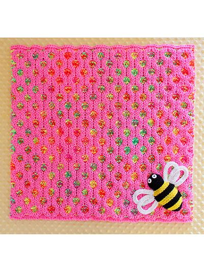 Knitting - Patterns for Children & Babies - Blanket Patterns - Bees A-Buzzin' Baby Blanket