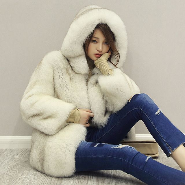 Women's Clothing 2016 Winter Fox Fur Coat Long Section Double-Faced Fur Full Pelt With Fur Hood Fashion Coat   GSJ219
