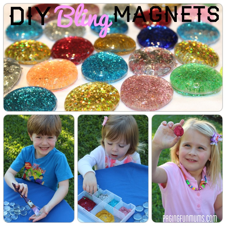 DIY Bling Magnets - Cool idea - would be fun as a Kids Birthday Party craft activity too!