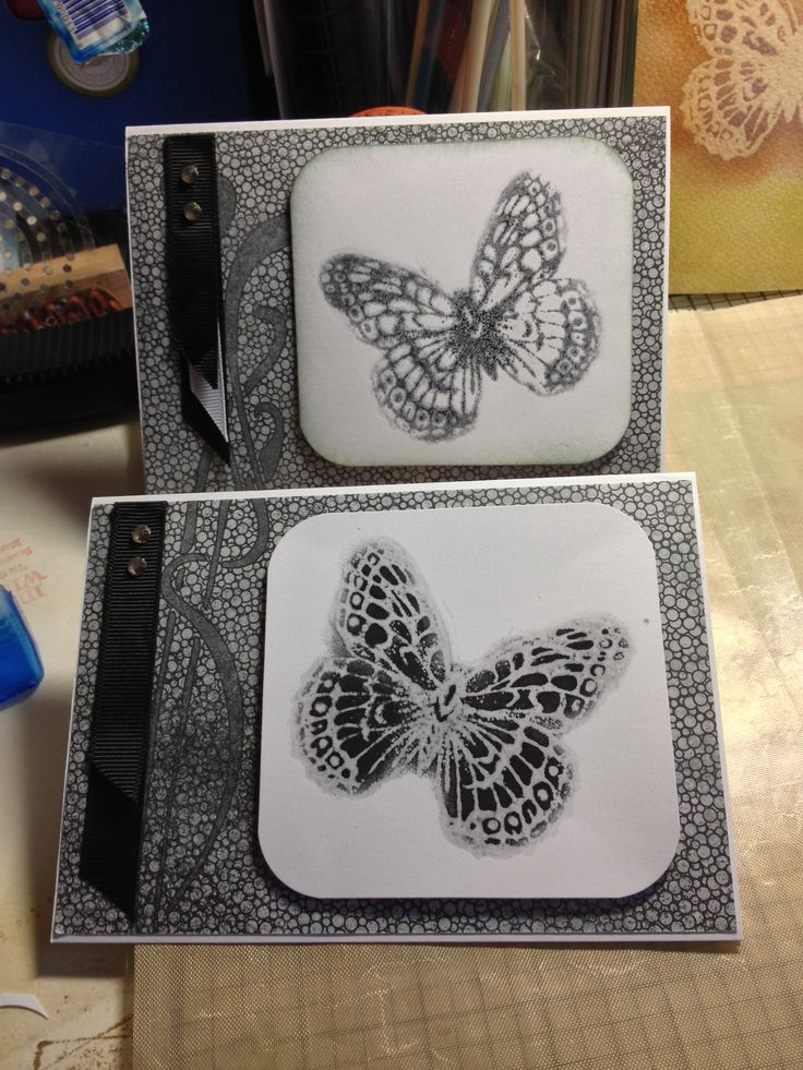 These are embossed mirror image cards . Used SU stipple butterfly, and SU papers