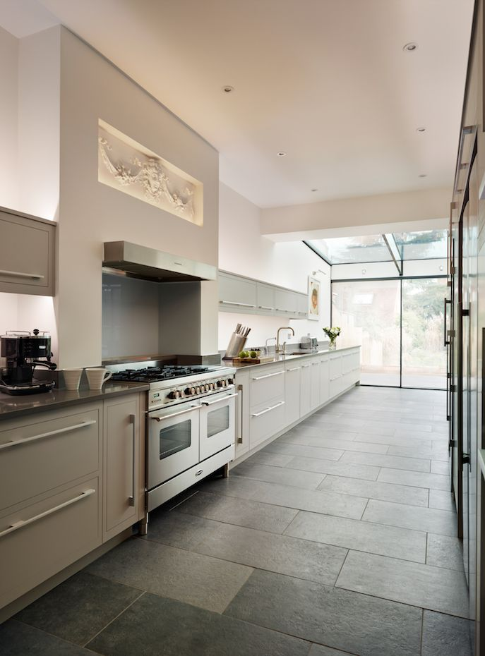 harvey jones linear kitchen painted in zoffany silver kitchendesign bespokekitchen - Painted Kitchen Ideas