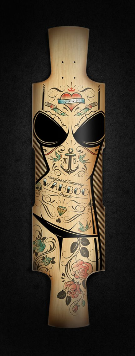 Custom longboard by Blackletter , via Behance
