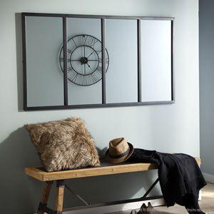 Miroir atelier verri re horizontale rectangulaire en m tal for Miroir au dessus d une cheminee