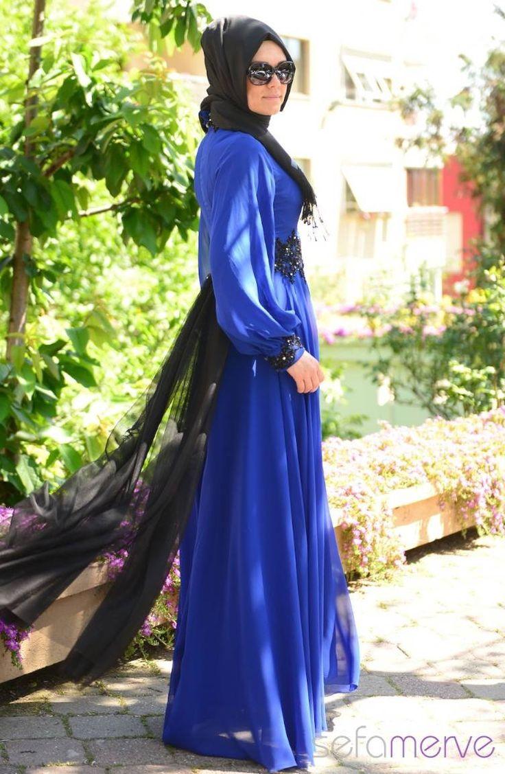 Sefamerve Tesettür Abiye Elbiseler PDY 4223-03 Saks