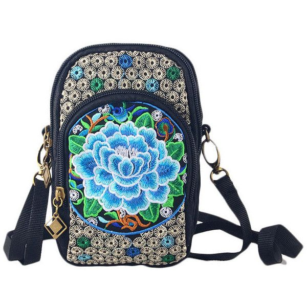 National Style 5.5 Inch Phone Bags Embroidery Flower Crossbody Bags... ($10) ❤ liked on Polyvore featuring accessories, tech accessories, blue, galaxy smartphone, iphone smartphone, blue smartphone and samsung galaxy smartphone