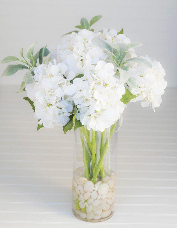 Silk Off White Hydrangeas Arrangement Centerpiece Glass Etsy Hydrangea Arrangements Flower Vase Arrangements Faux Flower Arrangements