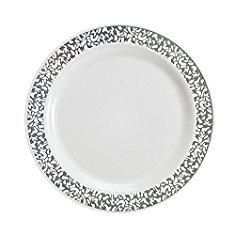Wholesale Plastic Plates Wedding. Party Bargains White Silver China Like Real Plastic Plate | Elegant Silver Lace Rim & Durable Lace Collection Disposable Plates Perfect for Wedding & Party Dinnerware - 9 Inch | Pack of 40.  #wholesale #plastic #plates #wedding #wholesaleplastic #plasticplates #plateswedding