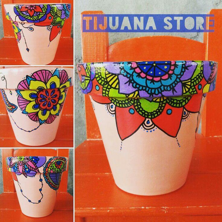 Mandalas Macetas pintadas mano by Tijuana_Store ❤