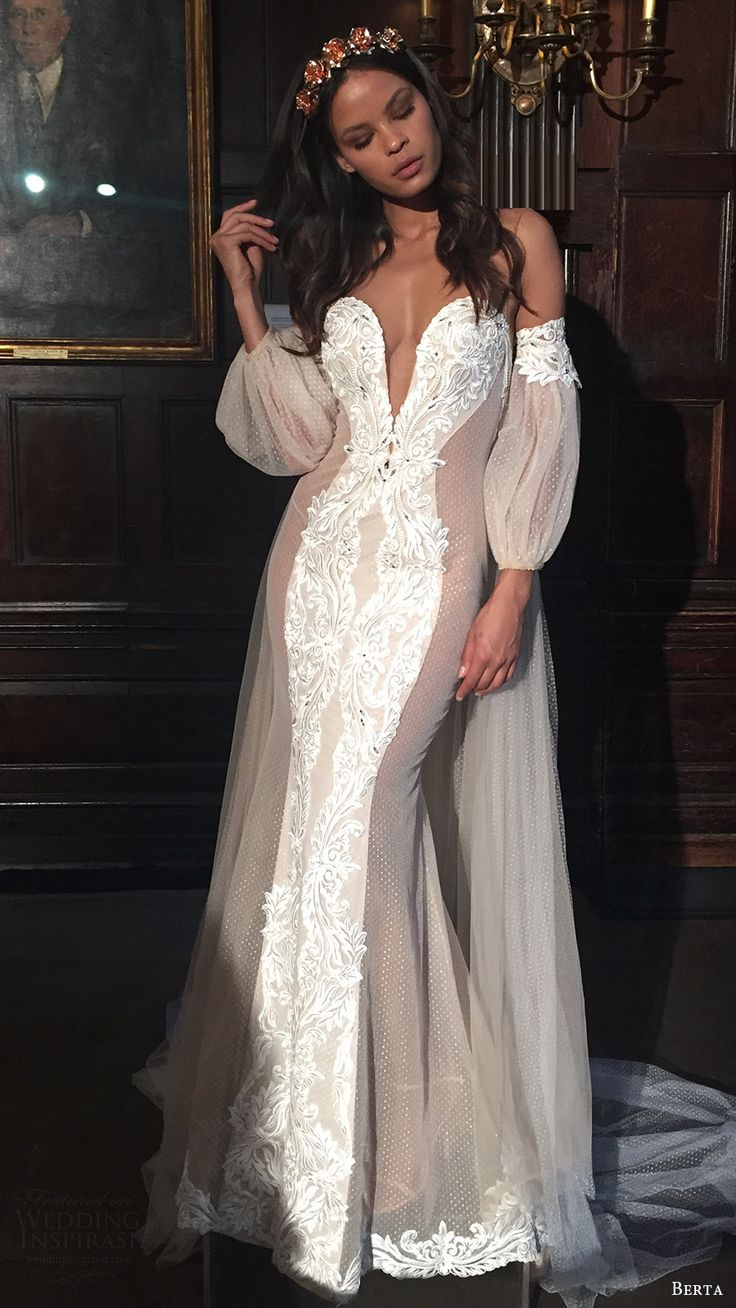 berta bridal fall 2016 off shoulder bishop sleeves split sweetheart mermaid wedding dress (16 111) mv