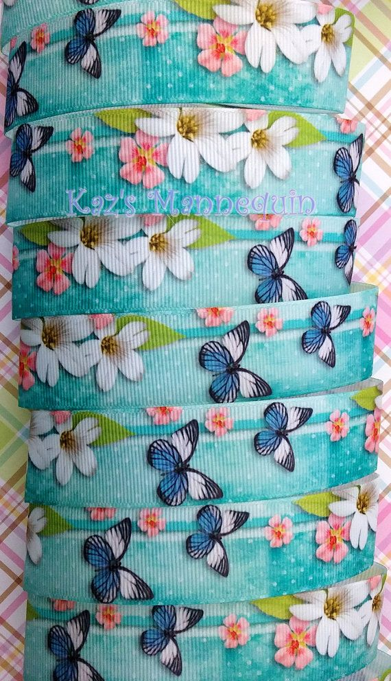 Turquoise Grosgrain Ribbon with Butterflies and Flowers