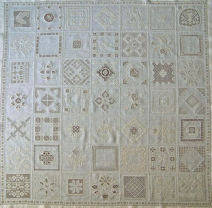 This wonderful whitework sampler by Jeanny Cobben features 49 different techniques including hardanger, hedebo and Schwälm -Jeanny writes that she stitched this piece on 36 count Edinburgh linen. www.handwerkpagina.nl