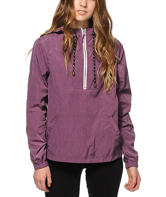 Make sure your style needs are covered rain or shine with this pullover style windbreaker jacket cut from a lightweight nylon poly blended material that helps protect against wind and rain.