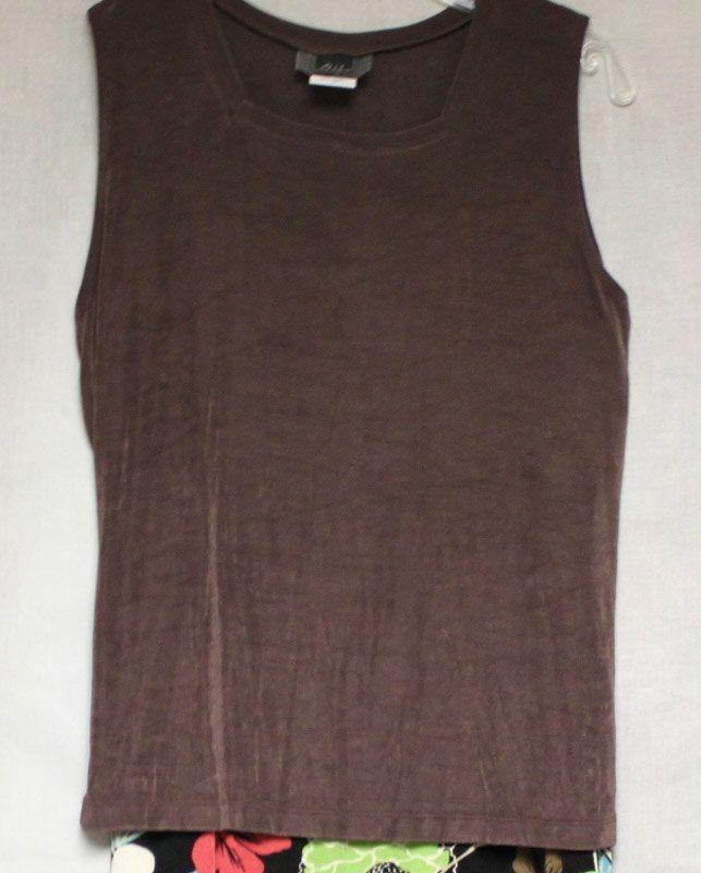 Striking Tapk and Skirt Knit Set by Slinky Brand.  Brown Tank and Multi-Color Skirt by EmmaLousResalePlace on Etsy