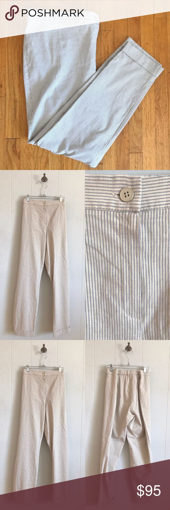 "NWT Marina Rinaldi Striped Pants NWT Marina Rinaldi Striped Pants. Size 27, which is a women's size 18 (see size chart in last image). 72% cotton, 25% flax, 3% elastane. Blue and cream stripes. Cuffed at bottom. Elastic on back of waistband. Waistband is 19.5"" across laying flat. Inseam is 30"". Marina Rinaldi Pants"