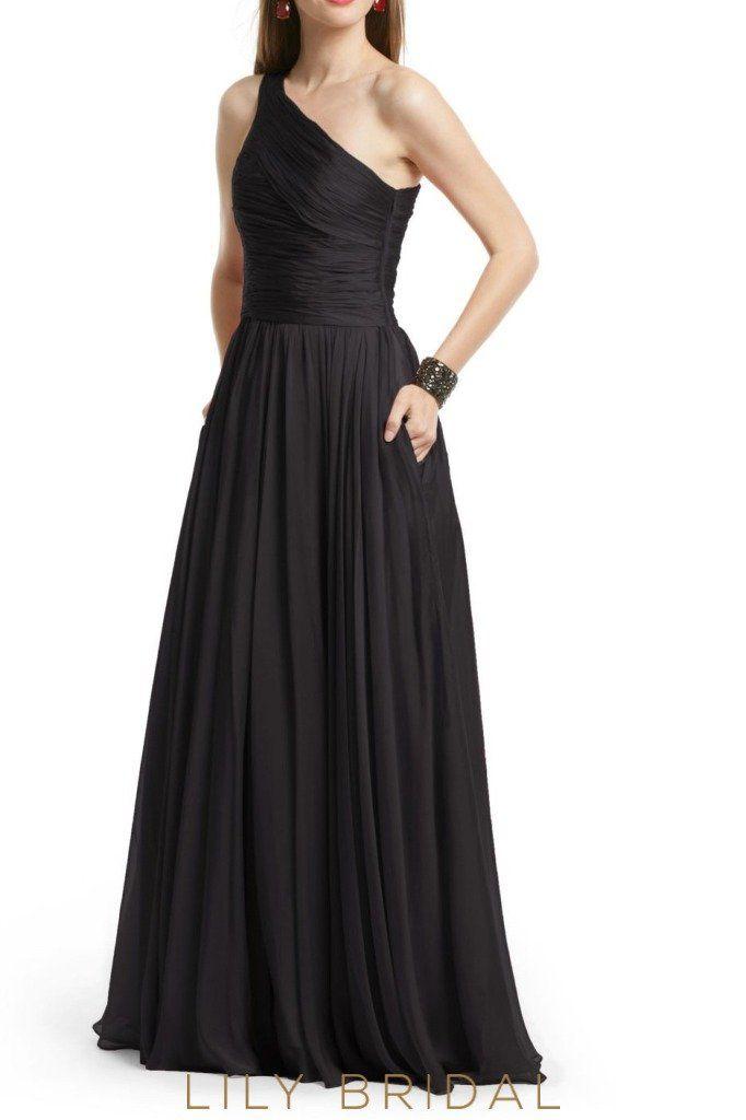 Black Chiffon One Shoulder Sleeveless Floor Length A Line Bridesmaid