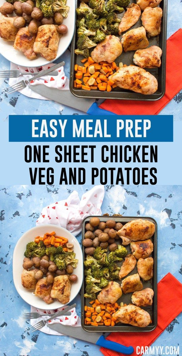 Need a meal prep idea? This One Sheet Pan Chicken Vegetables and Potatoes is so fast and easy to make plus it packs well!