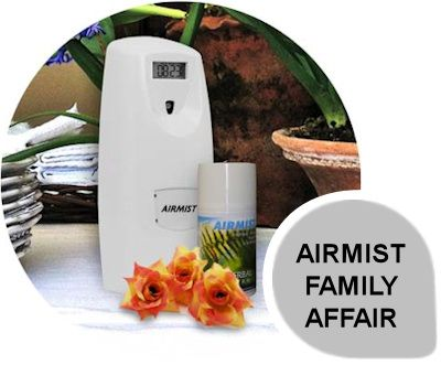 Airmist - Family Affair: Airmist fragrance dispenser is available in 270ml and 100ml variations with the same programmable features which include real time programmability, service frequency setting, on and off days, alarm features and a battery indicator.