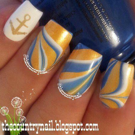 Nautical Breeze Nails #waterdecals #marble #blue #yellow #Mustard  #nailart #nails - bellashoot.com