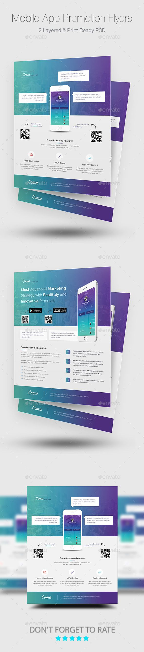 Mobile App Promotion Flyer Templates  — PSD Template #app flyer • Click here to…