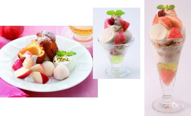 左から「フレッシュ桃のポップオーバー」「桃のミルクプリンミニパルフェ」「桃のミルクプリンサンデー」