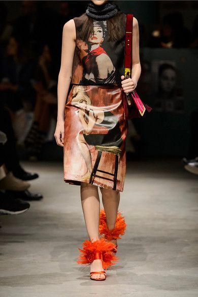 Prada - Printed Coated-cotton Midi Skirt - Claret