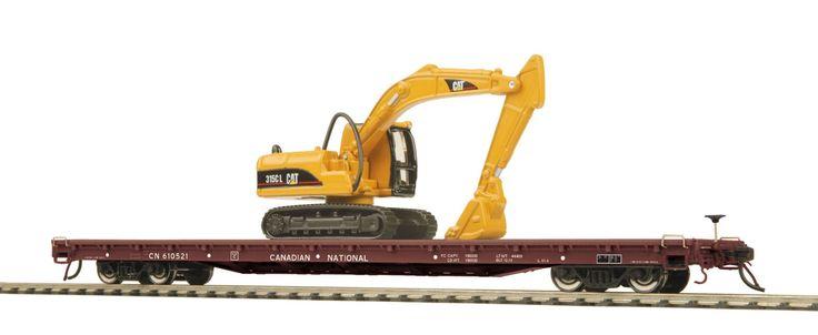 80-98027 - Canadian National 60' Wood Deck Flat Car w/315C Hydraulic Excavator