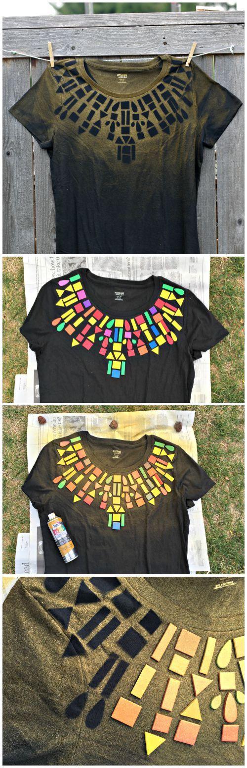 Dollar Store Craft: Geometric Collar T-shirt DIY - super easy to make with foam…